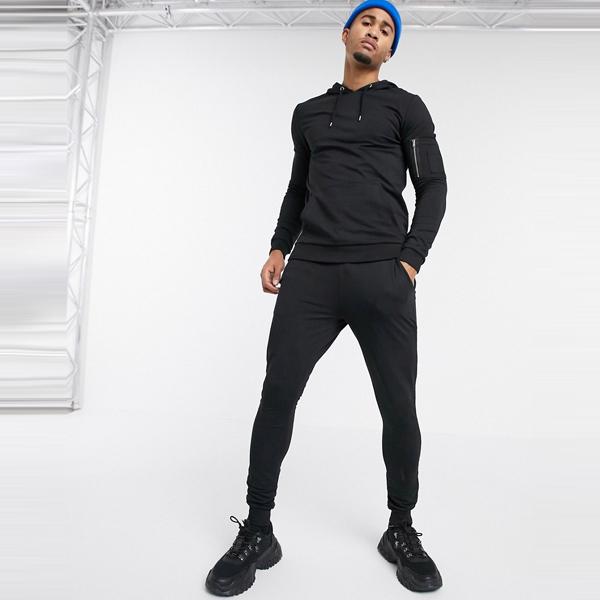 asos ASOS エイソス メンズ ASOS DESIGN ブラック パーカー MA1 ポケット付き 筋肉 トラック スーツ 大きいサイズ インポート エクストリームスーパースキニーフィット スウェットパンツ ジーンズ ジーパン 20代 30代 40代 ファッション コーディネート