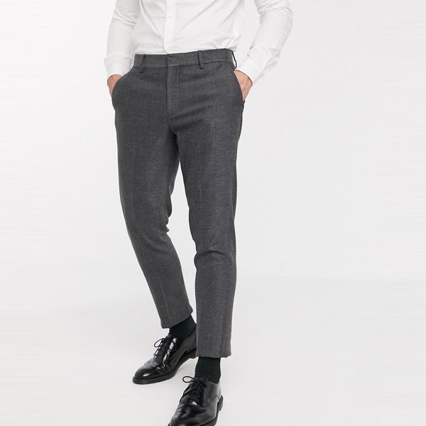 asos ASOS エイソス メンズ ASOS DESIGN チャコール ヘリンボーン 結婚式 スキニー ウール ミックス スーツ ズボン 大きいサイズ インポート エクストリームスーパースキニーフィット スウェットパンツ ジーンズ ジーパン 20代 30代 40代 ファッション コーディネート