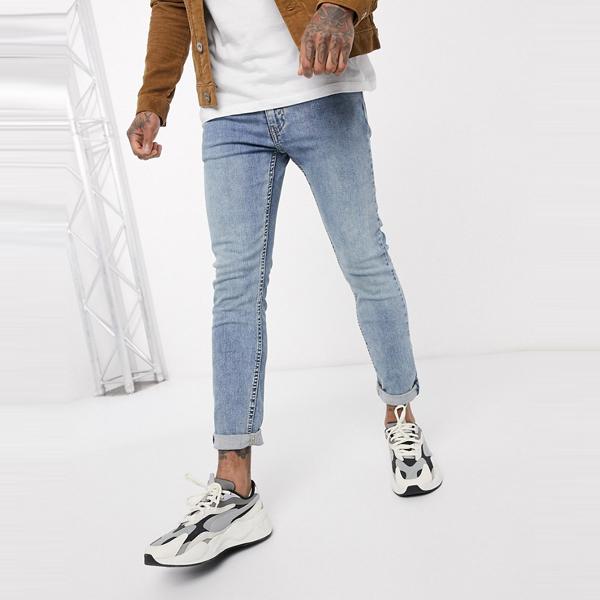 Levi's リーバイス asos ASOS エイソス メンズ Levi's Youth 519 フィット ハイボール ロール ジーンズ ライトウォッシュ 大きいサイズ インポート エクストリームスーパースキニーフィット スウェットパンツ ジーンズ ジーパン 20代 30代 40代 ファッション コーディネート