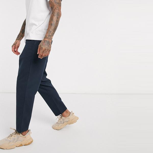 ASOSセレクト Farah asos ASOS エイソス メンズ Farah Hawtin ホップサック ネイビー ズボン トリミング 大きいサイズ インポート エクストリームスーパースキニーフィット スウェットパンツ ジーンズ ジーパン 20代 30代 40代 ファッション コーディネート