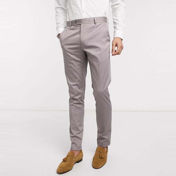 asos ASOS エイソス メンズ ASOS DESIGN グレー ストレッチ コットン 結婚式 スキニー スーツ ズボン 大きいサイズ インポート エクストリームスーパースキニーフィット スウェットパンツ ジーンズ ジーパン 20代 30代 40代 ファッション コーディネート
