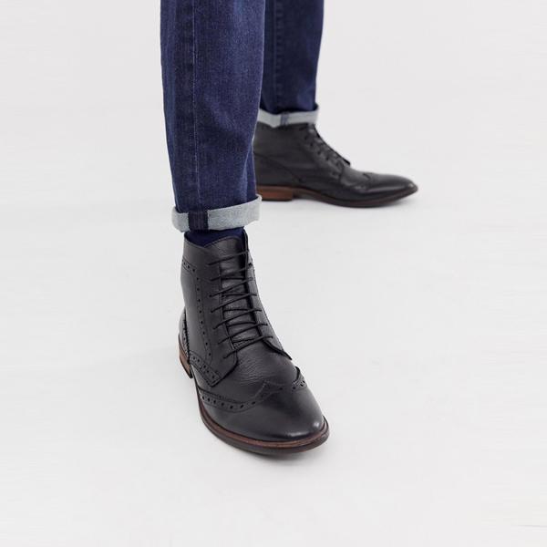 靴 シューズ asos ASOS エイソス メンズ ASOS DESIGN 自然 ソール ブラック レザー ブローグ ブーツ 大きいサイズ インポート エクストリームスーパースキニーフィット スウェットパンツ ジーンズ ジーパン 20代 30代 40代 ファッション コーディネート