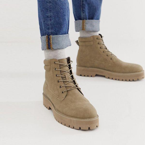 靴 シューズ asos ASOS エイソス メンズ ASOS DESIGN 石の裏 フェイク スエード 石 ブーツ ひも 大きいサイズ インポート エクストリームスーパースキニーフィット スウェットパンツ ジーンズ ジーパン 20代 30代 40代 ファッション コーディネート