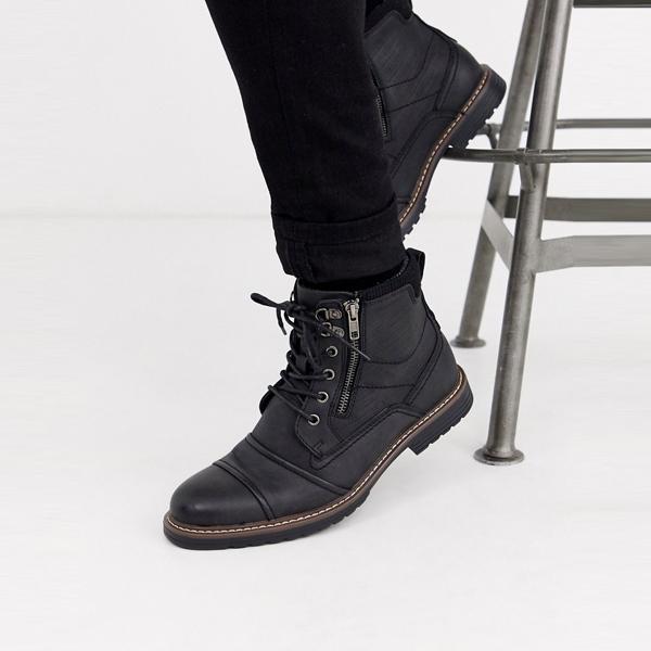 靴 シューズ ASOSセレクト River Island asos ASOS エイソス メンズ River Island ブラック ダブルジップ ブーツ 大きいサイズ インポート エクストリームスーパースキニーフィット スウェットパンツ ジーンズ ジーパン 20代 30代 40代 ファッション コーディネート