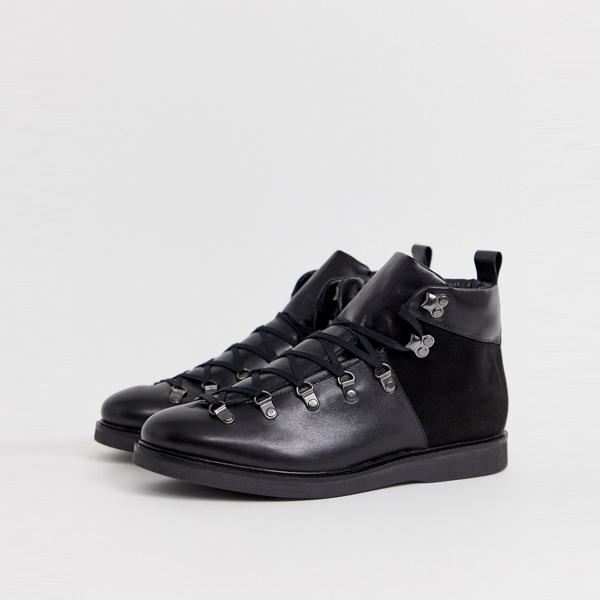 靴 シューズ ASOSセレクト Hudson London asos ASOS エイソス メンズ Calverston Hiker ブラック レザーブーツ 大きいサイズ インポート エクストリームスーパースキニーフィット スウェットパンツ ジーンズ ジーパン 20代 30代 40代 ファッション コーディネート