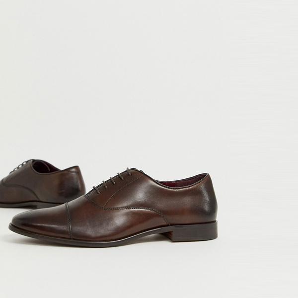 靴 シューズ ASOSセレクト WALK London asos ASOS エイソス メンズ 茶色 革 つま先 キャップ オックスフォード 靴 大きいサイズ インポート エクストリームスーパースキニーフィット スウェットパンツ ジーンズ ジーパン 20代 30代 40代 ファッション コーディネート