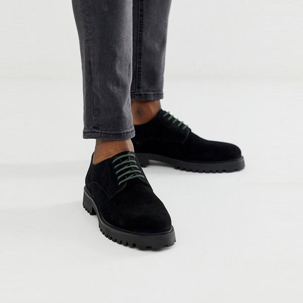 靴 シューズ ASOSセレクト WALK London asos ASOS エイソス メンズ WALK London ブラック スエード ショーン ダービー 靴 大きいサイズ インポート エクストリームスーパースキニーフィット スウェットパンツ ジーンズ ジーパン 20代 30代 40代 ファッション コーディネート