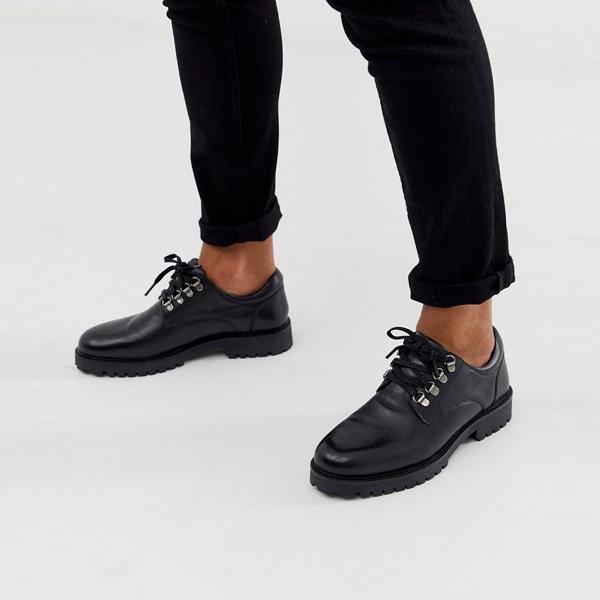 靴 シューズ ASOSセレクト WALK London asos ASOS エイソス メンズ WALK London ブラック革 ショーン ハイカー 靴 大きいサイズ インポート エクストリームスーパースキニーフィット スウェットパンツ ジーンズ ジーパン 20代 30代 40代 ファッション コーディネート