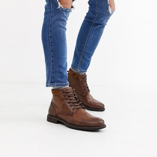 靴 シューズ ASOSセレクト Topman asos ASOS エイソス メンズ Topman 茶色 ブーツ 大きいサイズ インポート エクストリームスーパースキニーフィット スウェットパンツ ジーンズ ジーパン 20代 30代 40代 ファッション コーディネート