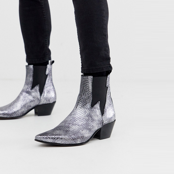 靴 シューズ asos ASOS エイソス メンズ ASOS DESIGN 銀 蛇 キューバヒール 西部チェルシーブーツ 大きいサイズ インポート エクストリームスーパースキニーフィット スウェットパンツ ジーンズ ジーパン 20代 30代 40代 ファッション コーディネート