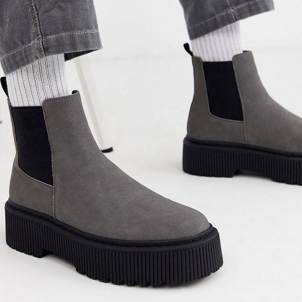 靴 シューズ asos ASOS エイソス メンズ ASOS DESIGN 分厚い ソール グレー フェイク スエード チェルシーブーツ 大きいサイズ インポート エクストリームスーパースキニーフィット スウェットパンツ ジーンズ ジーパン 20代 30代 40代 ファッション コーディネート