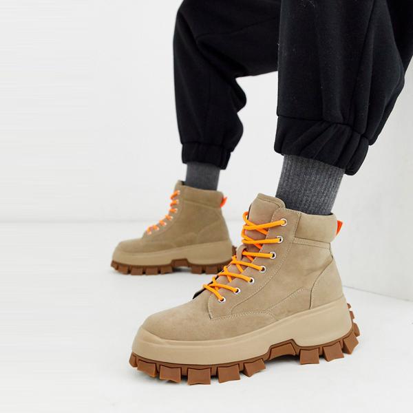 靴 シューズ asos ASOS エイソス メンズ ASOS DESIGN 分厚い ソール 石 フェイクヌバック 革 ブーツ ひも 締めます 大きいサイズ インポート エクストリームスーパースキニーフィット スウェットパンツ ジーンズ ジーパン 20代 30代 40代 ファッション コーディネート
