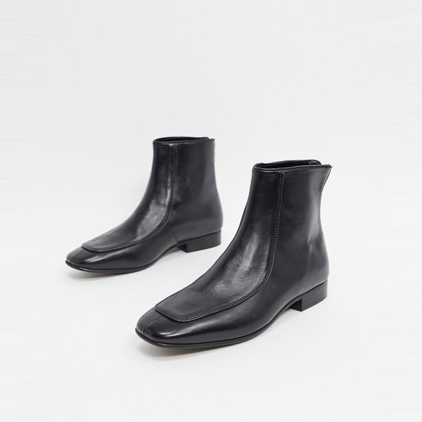 靴 シューズ asos ASOS エイソス メンズ ASOS DESIGN 正方形 つま先 ブラック レザー チェルシー ブーツ 大きいサイズ インポート エクストリームスーパースキニーフィット スウェットパンツ ジーンズ ジーパン 20代 30代 40代 ファッション コーディネート