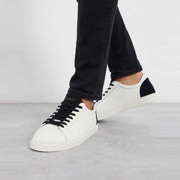 靴 シューズ ASOSセレクト Selected Homme asos ASOS エイソス メンズ 白革 コントラスト ディティール トレーナー 大きいサイズ インポート エクストリームスーパースキニーフィット スウェットパンツ ジーンズ ジーパン 20代 30代 40代 ファッション コーディネート