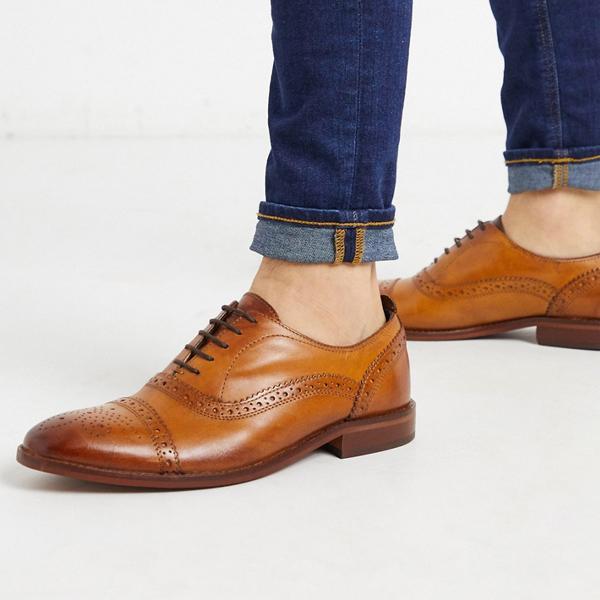 靴 シューズ ASOSセレクト Base london asos ASOS エイソス メンズ Base タンレザー ロンドン キャスト brogues 大きいサイズ インポート エクストリームスーパースキニーフィット スウェットパンツ ジーンズ ジーパン 20代 30代 40代 ファッション コーディネート