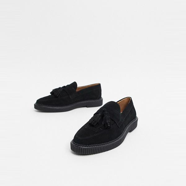 靴 シューズ ASOSセレクト House of Hounds asos ASOS エイソス メンズ ブラック スエード カイン クリーパー ローファー 大きいサイズ インポート エクストリームスーパースキニーフィット スウェットパンツ ジーンズ ジーパン 20代 30代 40代 ファッション コーディネート
