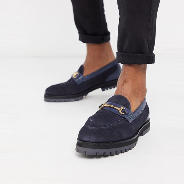 靴 シューズ ASOSセレクト House of Hounds asos ASOS エイソス メンズ ネイビー スエード rigal 分厚い ローファー 大きいサイズ インポート エクストリームスーパースキニーフィット スウェットパンツ ジーンズ ジーパン 20代 30代 40代 ファッション コーディネート