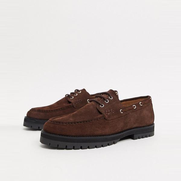 靴 シューズ ASOSセレクト House of Hounds asos ASOS エイソス メンズ 茶色 スエード sirus 分厚い ボート 靴 大きいサイズ インポート エクストリームスーパースキニーフィット スウェットパンツ ジーンズ ジーパン 20代 30代 40代 ファッション コーディネート