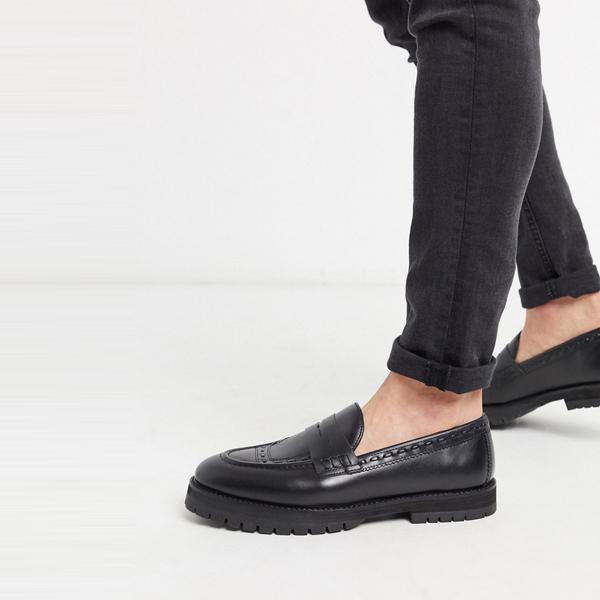 靴 シューズ ASOSセレクト House of Hounds asos ASOS エイソス メンズ ブラック 革 カラス ペニー ローファー 大きいサイズ インポート エクストリームスーパースキニーフィット スウェットパンツ ジーンズ ジーパン 20代 30代 40代 ファッション コーディネート