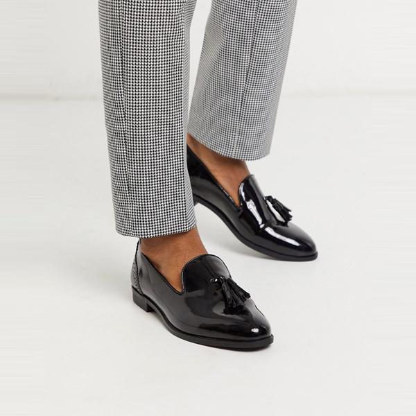 靴 シューズ ASOSセレクト House of Hounds asos ASOS エイソス メンズ ブラック 特許 タッセル ローファー 矢印 大きいサイズ インポート エクストリームスーパースキニーフィット スウェットパンツ ジーンズ ジーパン 20代 30代 40代 ファッション コーディネート