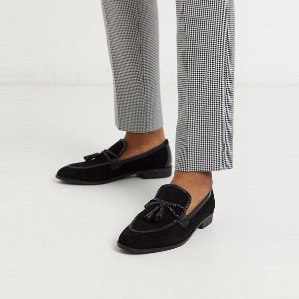 靴 シューズ ASOSセレクト House of Hounds asos ASOS エイソス メンズ ブラック スエード らせん ローファー 大きいサイズ インポート エクストリームスーパースキニーフィット スウェットパンツ ジーンズ ジーパン 20代 30代 40代 ファッション コーディネート