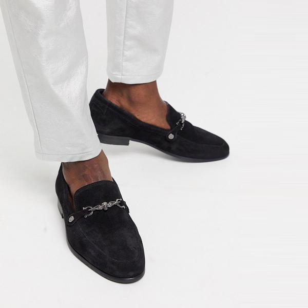 靴 シューズ ASOSセレクト Twisted Tailor asos ASOS エイソス メンズ ブラック 銀 バックル付き スエード ローファー 大きいサイズ インポート エクストリームスーパースキニーフィット スウェットパンツ ジーンズ ジーパン 20代 30代 40代 ファッション コーディネート