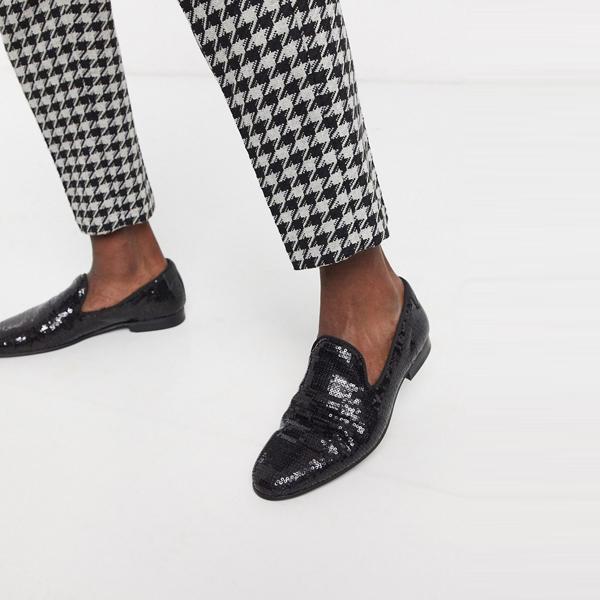 靴 シューズ ASOSセレクト Twisted Tailor asos ASOS エイソス メンズ Twisted Tailor ブラック スパンコール ローファー 大きいサイズ インポート エクストリームスーパースキニーフィット スウェットパンツ ジーンズ ジーパン 20代 30代 40代 ファッション コーディネート