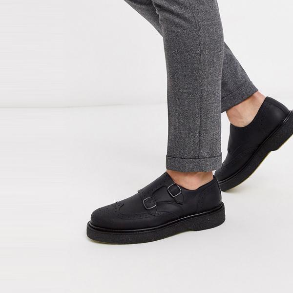 靴 シューズ ASOSセレクト Selected Homme asos ASOS エイソス メンズ Selected Homme ブラック 分厚い 革 僧 靴 大きいサイズ インポート エクストリームスーパースキニーフィット スウェットパンツ ジーンズ ジーパン 20代 30代 40代 ファッション コーディネート