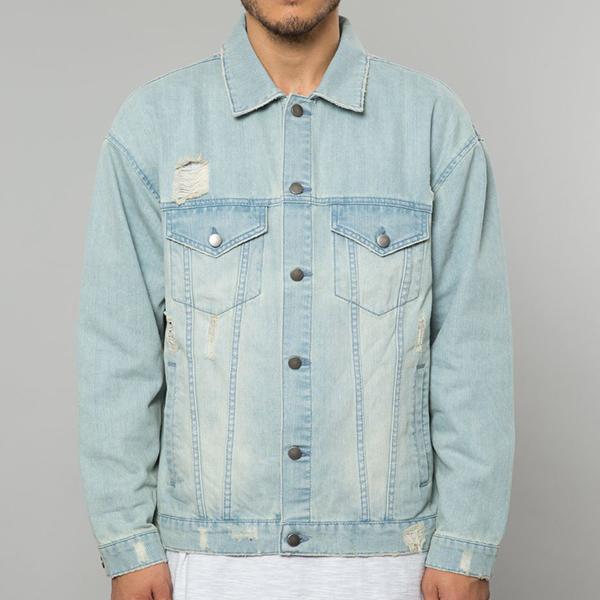 ELWOOD(エルウッド) メンズ アウター デニムジャケット Gジャン ジャケット ダメージ ライトインディゴ デニム メンズ 大きいサイズ インポート リゾート ストリート ファッション 日本未入荷 インスタ映え フェス 野外 男性 20代 30代 40代