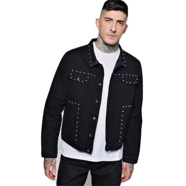 boohoo(ブーフー)メンズ アウター デニムジャケット Gジャン ジャケット ウエスタン スタッズ デニム インディゴ メンズ オーバーサイズ 大きいサイズ インポート トレンド 20代 30代 40代 ファッション コーディネート オシャレ カジュアル