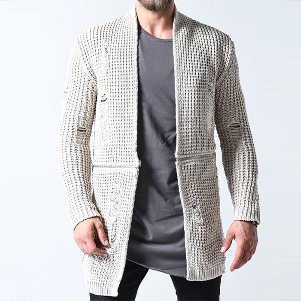 Gentleman To Be(ジェントルマントゥービー)ワッフル カーディガン ダメージ 20代30代40代 日本未入荷 大きいサイズあり 流行 最新 メンズカジュアル edm フェス ファッション 京都のセレクトショップdivacloset