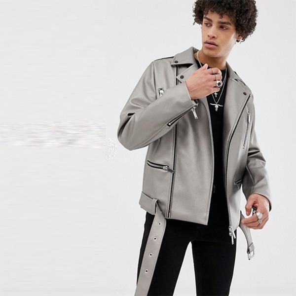 ASOS  アウター メタリック バイカージャケット stone ジャケット デニム レギュラーフィット メンズ 大きいサイズ インポート トレンド 20代 30代 40代 ファッション コーディネート オシャレ カジュアル asos 小さいサイズあり