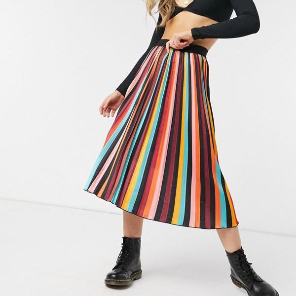 京都のセレクトショップdivacloset Outrageous Fortune レインボーストライプのとんでもないフォーチュンプリーツミディスカート お値打ち価格で スカート タイムセール 小さいサイズから大きいサイズまで インポートブランド レディース 女性