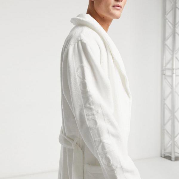 カルバンクライン Calvin Klein 白のカルバンクラインのドレッシングガウン 部屋着 メンズ 男性 インポートブランド 小さいサイズから大きいサイズまで