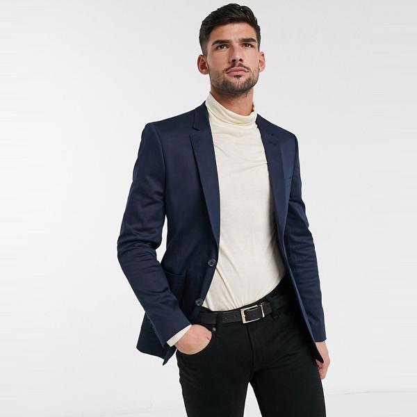 スーツ ジャケット asos ASOS エイソス メンズ ASOS DESIGN ネイビー 綿 スキニー ブレザー 大きいサイズ インポート エクストリームスーパースキニーフィット スウェットパンツ ジーンズ ジーパン 20代 30代 40代 ファッション コーディネート