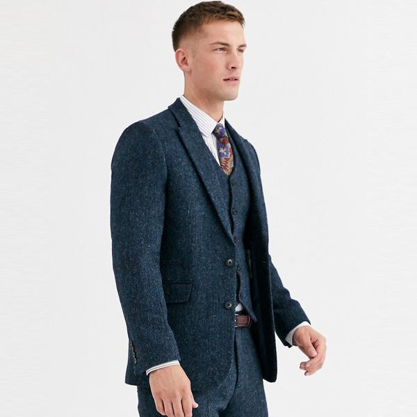 スーツ ジャケット asos ASOS エイソス メンズ ASOS DESIGN ブルー ヘリンボーン ハリスツイード スーツ ジャケット 大きいサイズ インポート エクストリームスーパースキニーフィット スウェットパンツ ジーンズ ジーパン 20代 30代 40代 ファッション コーディネート