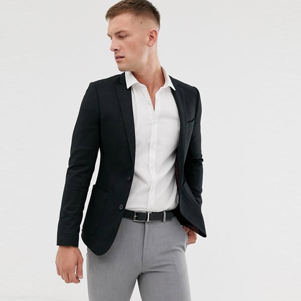 スーツ ジャケット asos ASOS エイソス メンズ ASOS DESIGN ブラック スーパー スキニー ジャージ ブレザー 大きいサイズ インポート エクストリームスーパースキニーフィット スウェットパンツ ジーンズ ジーパン 20代 30代 40代 ファッション コーディネート