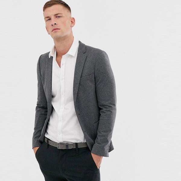 スーツ ジャケット asos ASOS エイソス メンズ ASOS DESIGN 炭 スーパースキニー ジャージ ブレザー 大きいサイズ インポート エクストリームスーパースキニーフィット スウェットパンツ ジーンズ ジーパン 20代 30代 40代 ファッション コーディネート