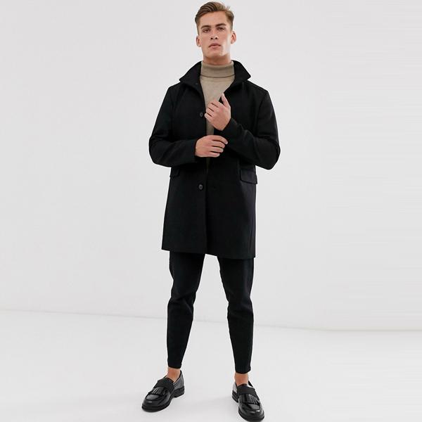 ASOSセレクト Selected Homme asos ASOS エイソス メンズ ファンネル ネック リサイクル ウール オーバーコート 大きいサイズ インポート エクストリームスーパースキニーフィット スウェットパンツ ジーンズ ジーパン 20代 30代 40代 ファッション コーディネート