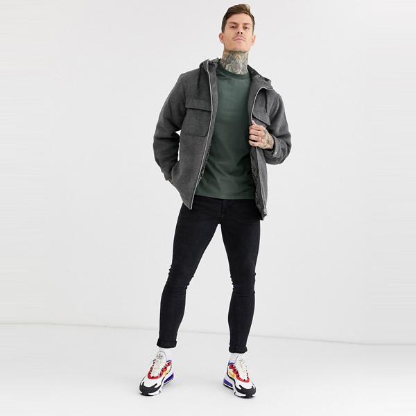 asos ASOS エイソス メンズ ASOS DESIGN グレー フェイクファー 裏地付き ウール ミックス ジャケット 大きいサイズ インポート エクストリームスーパースキニーフィット スウェットパンツ ジーンズ ジーパン 20代 30代 40代 ファッション コーディネート