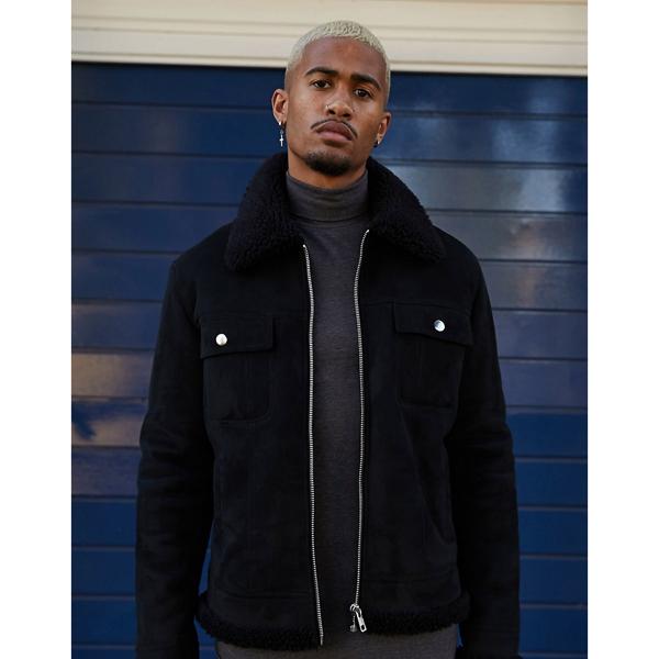 asos ASOS エイソス メンズ ASOS DESIGN テディベア 裏地 ブラック フェイク スエード 西部 ジャケット 大きいサイズ インポート エクストリームスーパースキニーフィット スウェットパンツ ジーンズ ジーパン 20代 30代 40代 ファッション コーディネート