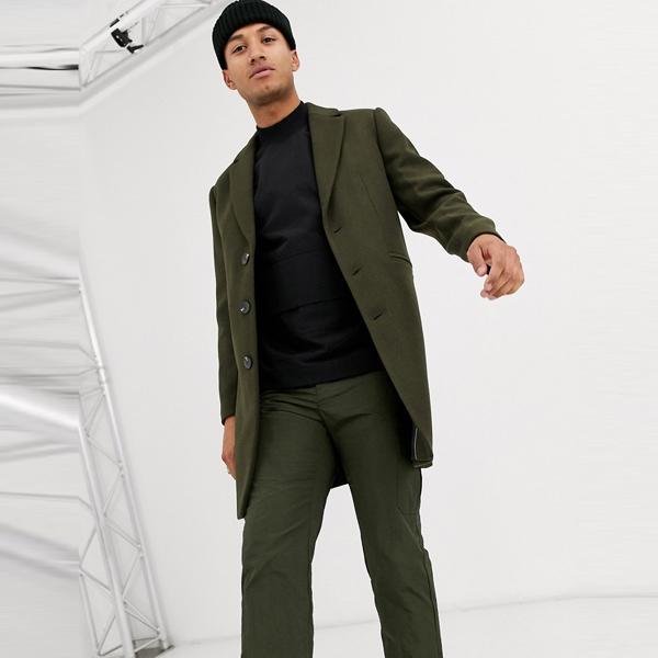 asos ASOS エイソス メンズ ASOS DESIGN カーキ 羊毛 ミックス オーバーコート 大きいサイズ インポート エクストリームスーパースキニーフィット スウェットパンツ ジーンズ ジーパン 20代 30代 40代 ファッション コーディネート