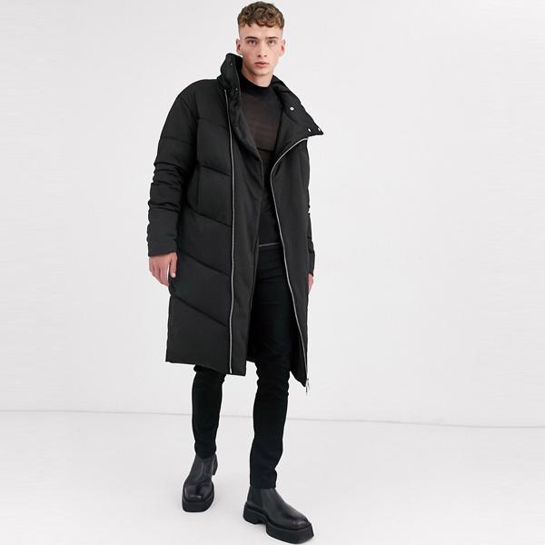 asos ASOS エイソス メンズ ASOS DESIGN ブラック ファンネルネック 延縄 パッファ コート 大きいサイズ インポート エクストリームスーパースキニーフィット スウェットパンツ ジーンズ ジーパン 20代 30代 40代 ファッション コーディネート