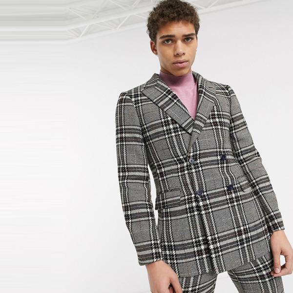 スーツ ジャケット asos ASOS エイソス メンズ ASOS DESIGN 虹糸 チェック ウール ミックス スキニー スーツ ジャケット 大きいサイズ インポート エクストリームスーパースキニーフィット スウェットパンツ ジーンズ ジーパン 20代 30代 40代 ファッション コーディネート