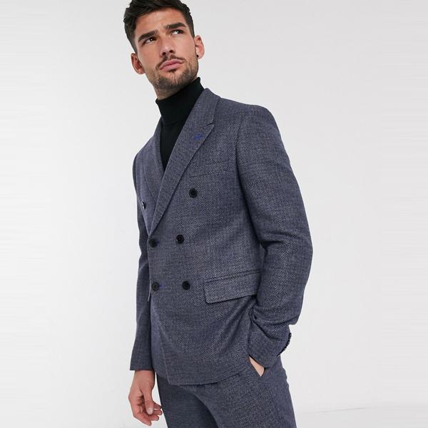 スーツ ジャケット asos ASOS エイソス メンズ ASOS DESIGN ブルー ツイード 羊毛 ミックス ダブル ジャケット 大きいサイズ インポート エクストリームスーパースキニーフィット スウェットパンツ ジーンズ ジーパン 20代 30代 40代 ファッション コーディネート