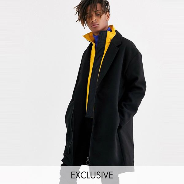 ASOSセレクト COLLUSION asos ASOS エイソス メンズ COLLUSION ブラック ハイブリッド オーバーコート 大きいサイズ インポート エクストリームスーパースキニーフィット スウェットパンツ ジーンズ ジーパン 20代 30代 40代 ファッション コーディネート
