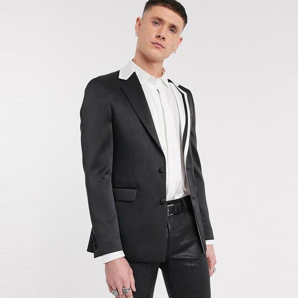 スーツ ジャケット asos ASOS エイソス メンズ ASOS DESIGN ブラック カット SEW ラペル スキニー ブレザー 大きいサイズ インポート エクストリームスーパースキニーフィット スウェットパンツ ジーンズ ジーパン 20代 30代 40代 ファッション コーディネート