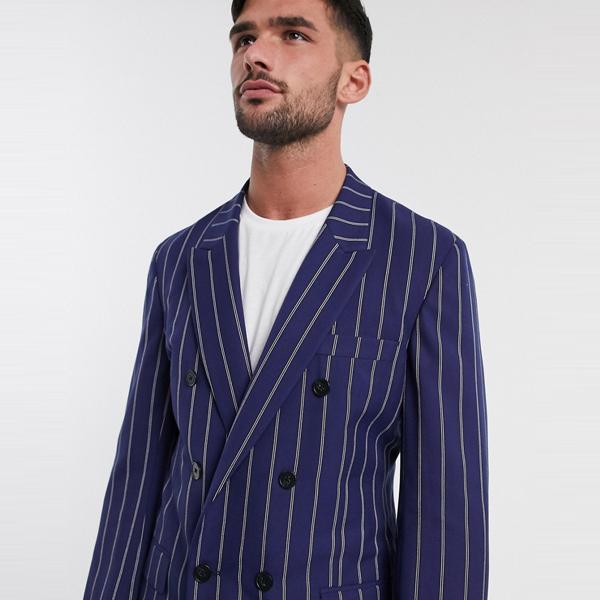 スーツ ジャケット asos ASOS エイソス メンズ ASOS DESIGN ネイビー ストライプ スリム カジュアル ダブル ブレザー 大きいサイズ インポート エクストリームスーパースキニーフィット スウェットパンツ ジーンズ ジーパン 20代 30代 40代 ファッション コーディネート