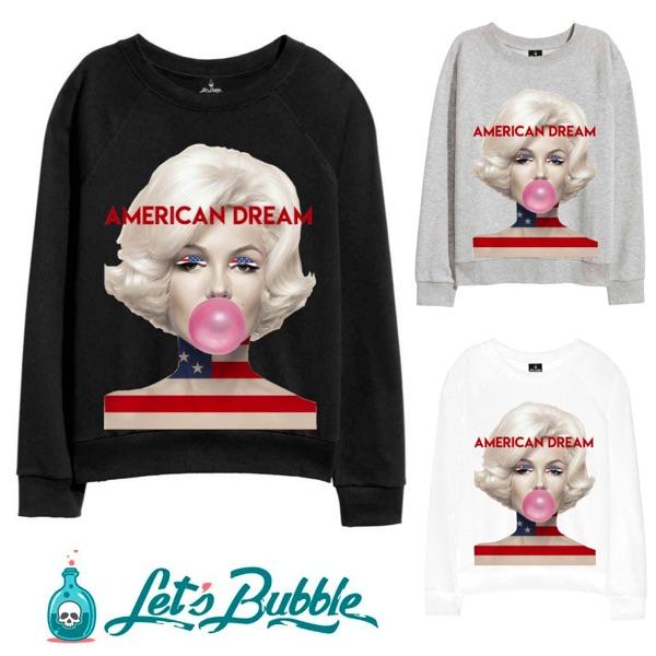 Let's Bubble(レッツバブル) バブル トレーナー 長袖 ホワイト グレー ブラック 20代 30代 ファッション コーディネート 大きいサイズ 日本未入荷 インポートブランド メンズ カジュアル ユニセックス フェス edm