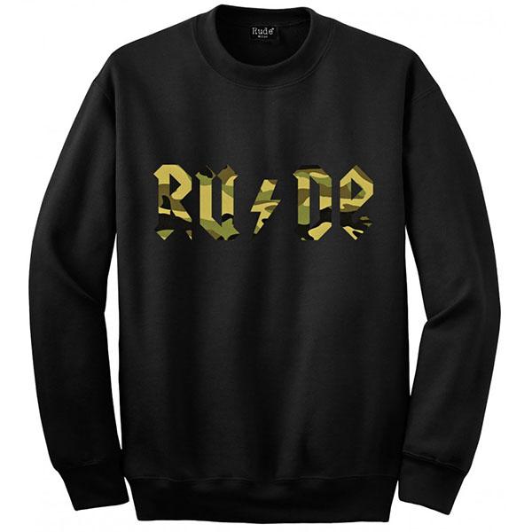RUDE(ルード)スカル レーナー スウェット 長袖 黒 ブラック 迷彩 レオパード カモフラ 20代 30代 40代 ファッション コーディネート 大きいサイズ 日本未入荷 インポート メンズ カジュアル ユニセックス メンズ 大人 プレゼント レディース S M L XL プリント Tシャツ